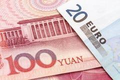 Chinese Yuan and EURO stock photo