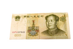 A Chinese yuan isolated on the white background Stock Photos