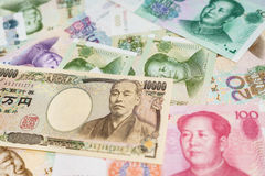 Chinese Yuan and Japanese yen Stock Photography