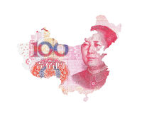 Chinese Yuan Map Stockfoto