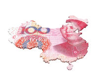 Chinese Yuan Map Stockfotos