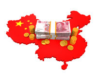 Chinese Yuan and Map Stock Image