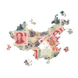 Chinese Yuan Map jigsaw Stock Photography