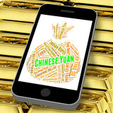 Chinese Yuan Means Worldwide Trading And Coinage. Chinese Yuan Representing Worldwide Trading And Coin Stock Photo