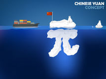 Chinese Yuan money value concept design. Graphic design illustration of Chinese Yuan symbol as iceberg in the ocean with polar bear,Chinese Yuan money value Royalty Free Stock Photo