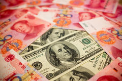 Chinese Yuan Note and U.S. dollar background Stock Photography