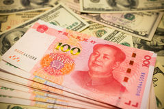 Chinese Yuan Note and U.S. dollar Exchange rate concept Royalty Free Stock Images