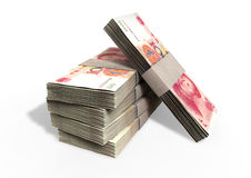 Chinese Yuan Notes Pile. A stack of bundled chinese yuan banknotes on an isolated background Stock Image