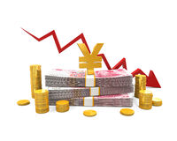 Chinese Yuan and Red Arrow Stock Photography