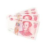 Chinese yuan renminbi banknotes isolated on white Stock Photos