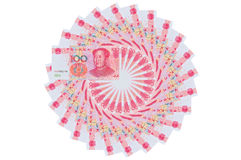 Chinese yuan. Renminbi Chinese Coins 100 yuan ,smf Was placed in a spiral shape stock photos