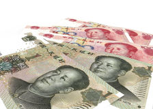 Chinese yuan renminbi (RMB) banknotes close up Stock Image