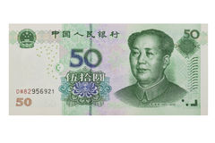 Chinese 50 RMB or Yuan featuring Chairman Mao on the front of each bill isolated on a white background Royalty Free Stock Photos
