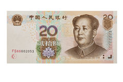 Chinese 100 RMB or Yuan featuring Chairman Mao on the front of each bill isolated on a white background