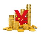 Chinese Yuan Symbol und Goldmünzen Stockbild