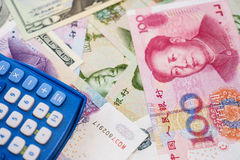 Chinese yuan and US dollar Stock Photos
