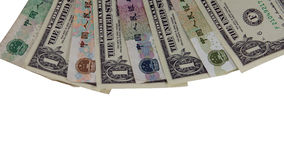 Chinese yuan and us dollar Royalty Free Stock Photography