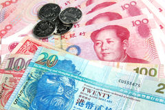 Chinese Yuan vs Hong Kong Dollars Stock Photos