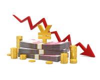 Chinese Yuans en Rode Pijl Royalty-vrije Stock Afbeelding