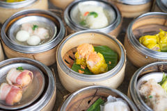 Chinese yumcha dimsum set in bamboo container. Chinese yumcha dimsum set in bamboo container Stock Image