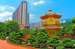 Chinese zen garden and pagoda stock photography