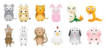 Chinese zodiac. 12 Chinese traditional animals zodiac Stock Image