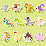 Chinese Zodiac animal. 12 Chinese Zodiac animal stickers,cartoon vector illustration Royalty Free Stock Image
