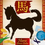 Chinese Zodiac Animal: Horse with Stamps, Globe, Tickets and Petals, Vector Illustration Stock Photos