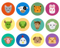 Chinese zodiac 12 animal icon in cute style. Chinese zodiac 12 animal icon in cute and simple flat style.  vector object Royalty Free Stock Photography
