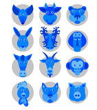 Chinese zodiac animal icons Royalty Free Stock Photos