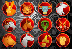 Chinese zodiac animal signs set Stock Images