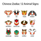 Chinese Zodiac 12 Animal Signs Royalty Free Stock Photo