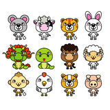 12 Chinese Zodiac animal stickers. Cartoon. Vector illustration stock illustration