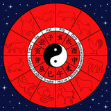 Chinese zodiac with animal symbols Royalty Free Stock Images