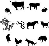 Chinese zodiac animals. Chinese 12 kinds of animals, on behalf of the people's property Royalty Free Stock Image