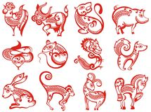 Chinese zodiac animals in paper cut style. Rat snake dragon pig rooster rabbit horse monkey dog tiger ox bull mouse, vector Royalty Free Stock Photos