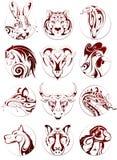 Chinese zodiac animals set Royalty Free Stock Photography