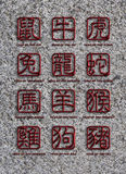 12 Chinese Zodiac Animals Stone Signs Royalty Free Stock Images