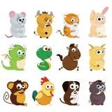 Chinese zodiac animals. Vector set of Chinese zodiac animals Stock Image