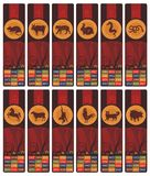 Chinese Zodiac Bookmarks Set Stock Photos