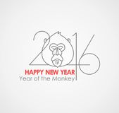 Chinese zodiac character red paper monkey 2016 in. Year of the Monkey simbol with inscription 2016 and ape head Stock Illustration