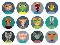 Chinese zodiac collection, Set of animals faces circle icons in Stock Photography
