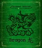 Vector Chinese Zodiac - dragon. Chinese Zodiac paper-cut about dragon Calligraphy on green Textured Parchment.Increased by Adobe Illustrator EPS Vector Format Royalty Free Illustration