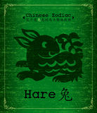 Vector Chinese Zodiac - hare. Chinese Zodiac paper-cut about hare Calligraphy on green Textured Parchment.Increased by Adobe Illustrator EPS Vector Format Stock Photography