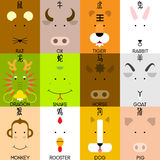 12 Chinese zodiac icon set. Face of rat, ox, tiger, rabbit, dragon, snake, horse, goat, monkey, rooster, dog, pig, flat design character. Vector illustration Royalty Free Stock Photography