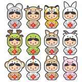 12 chinese zodiac, icon set Chinese Translation. 12 chinese zodiac, icon set & x28;Chinese Translation: 12 Chinese zodiac signs: rat, ox, tiger, rabbit, dragon Stock Photo