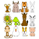 12 Chinese zodiac icon set. Vector illustration Royalty Free Stock Images