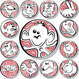 Chinese zodiac icon signs. Icons Chinese zodiac signs in the form of coins.Vector illustration Royalty Free Stock Photo