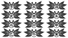 Chinese zodiac ideograms on two headed eagle. A colorful image representing the 12 signs of the Chinese zodiac, and that can be used in all those projects where Stock Images