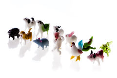 Chinese zodiac isolated. Small glass sculptures representing the chinese zodiac signs isolated over a pure white background royalty free stock images